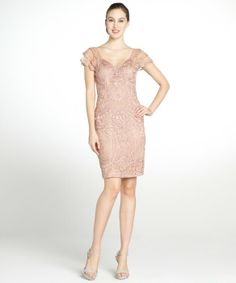 Sue Wong sandalwood short sleeve embellished dress