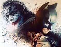 Batman and Joker Painting Der Joker, Joker Heath, Joker Art, Batman Artwork, Batman Wallpaper, Batman Arkham Knight, Batman The Dark Knight, Dc Comics Art, Batman Comics