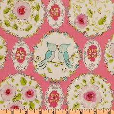 FQ Dena Designs London Brighton in Pink by TailorMadeDestash Fabric Yarn, Fabric Birds, Floral Fabric, Fabric Design, Pattern Design, Fabric London, Pink Laundry Rooms, London Brighton, Big Girl Bedrooms