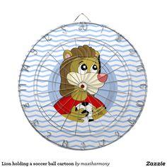 Lion holding a soccer ball cartoon dartboard