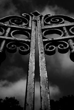 black iron gates.