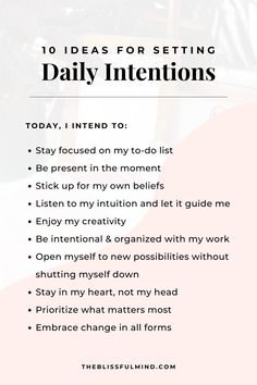 10 ideas for setting daily intentions