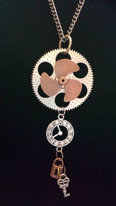 Steampunk Propeller Gear and Clock Necklace by KreationsByKimH, $16.00