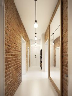 A Stunning Apartment Design Ideas With Colorful Geometric Design and Exposed Brick Wall In It - RooHome Apartment Interior, Apartment Design, Home Interior, Corridor Design, Painted Stairs, Painted Bricks, Brick Interior, Loft, Cool Apartments