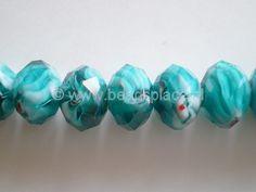 GKF019-Glaskraal rondel-Facet geslepen-ca.9x13mm-Turquoise met rode accenten