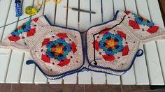 kızlar sık igneye siyahla işaretli yerden başlayıp ilk önce ense kısmını dolaniyoruz Crochet Mandala, Crochet Motif, Crochet Shawl, Crochet Patterns, Baby Knitting, Diy And Crafts, Projects To Try, Blanket, Templates