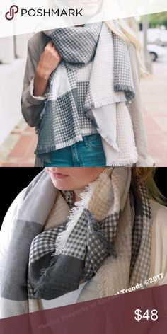 "Ultimately Soft Luxury Scarf/Wrap G/B/C/W The Ultimate in Softness & Luxury Long Plaid Scarf/Wrap in Gray/Blush/Cream/White Available in Additional Colors Dimension 79"" x 28"" 100% Acrylic Accessories Scarves & Wraps"