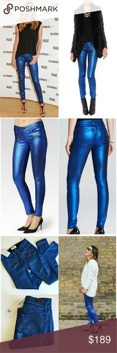 Paige Ultra Skinny Metallic Jeans Paige Ultra Skinny Indio Metallic Jeans. Size 23. Ultra skinny jean featuring a single exposed zipper on each hip. Finished in a metallic copper foil that's undeniably eye-catching and perfect for nighttime. This jean offers high stretch and holds you in without sacrificing comfort. It moves with you all day and won't bag out. New with $289 tags attached and sold out! As seen on Rosie Huntington-Whitely and Juliet Angus! NO TRADES!!! No rips/tears/stains…