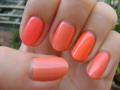 Smart and Sarcastic With Dashes of Insanity: Peachy Coral Nail Polish Comparison: Zoya, Maybelline, Inglot, Sally Hansen, and Color Club Orange Nail Polish, Coral Nails, Color Club, Nails Inc, Sally Hansen, Insta Makeup, Makeup Junkie, Maybelline, Make Up