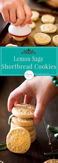 Delicious, easy shortbread cookies with a hint of sage to wake up your taste buds are perfect for snacking and gifting! | allthatsjas.com | #cookies #shorbread #baking #sweets #sage #dessert