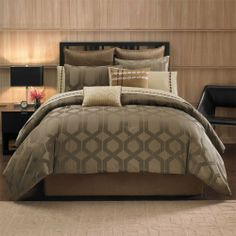 Avenue 8 Metro 12 Piece Comforter Set - Chocolate - Queen by Avenue 8. $79.99. A modern looking 12 piece comforter set with every decorative accessories for you bed. Metro super bedding ensemble features 200TC comforter, shams, sheet set, euro shams and decorative pillows to complete a perfect bedding. Comforter & Sham face: 100% poly jacquard, back: 100% brushed poly, 270g/m2 poly fill for comforter; Bedskirt: polyoni, Pillows: 100% cotton cover & emb, poly fill; shee...