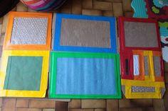 Tableau sensoriel, fait avec du carton vu sur le facebook DIY éducation alternative. Sensory table, cardboard, diy for kids, homemade activities.