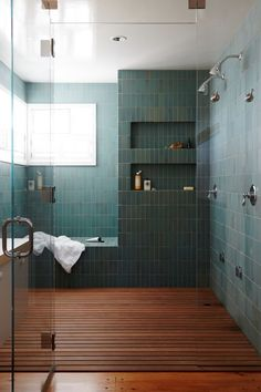 Best Master Bathroom Design Ideas For Your Big Home . modern green tile and wood slat floor in large master bathroom shower modern shaker beach house tour on coco kelley Master Bathroom Shower, Shower Niche, Shower Wood Floor, Wood In Bathroom, Serene Bathroom, Bathroom Niche, Colorful Bathroom, Small Bathroom, Shower Tiles