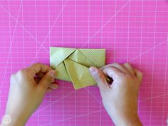 How to Fold a Letter into a Pull Tab Note   I Try DIY Origami Letter Fold, Letter Folding, Art Journal Inspiration, I Tried, Gift Wrapping, Notes, Lettering, Creative, Diy