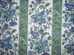 "Vintage Waverly ""Sultan Stripe"" Jacobean Floral Fabric, via Etsy."