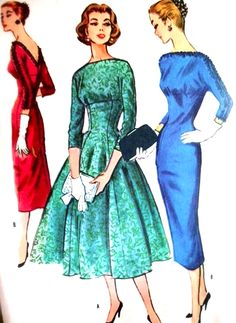 1950s Slim or Full Skirt Dress Cocktail Party Pattern McCalls 3820 Low V Back  Bateau Neckline Empire Style  Bust 31.5 Vintage Sewing Pattern