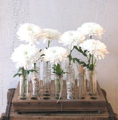 wedding/party table centerpiece flower vases - glass tubes wooden tray - rustic industrial outdoors natural organic wedding urban primitive. $135.00, via Etsy.