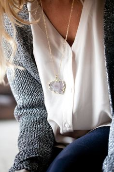 I love the chunky knit and I would love this necklace!