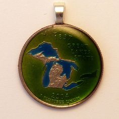 USA Quarter  Michigan Coin Pendant by AnimalCoin on Etsy