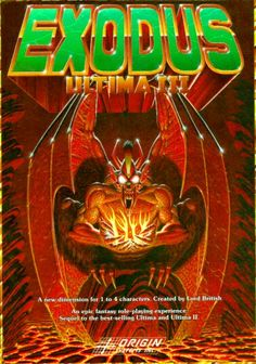 """Box art for """"Ultima III: Exodus,"""" a CRPG from Origin Systems, released for numerous personal computer platforms in 1983 Geek Games, Games Box, Old Games, Video Game Rooms, Video Game Art, Cover Art, Avatar, Computer Video Games, Giant Bomb"""