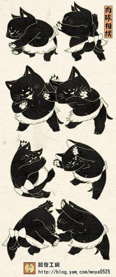 Japanese Bobtail Cats - ink block  肉球相撲