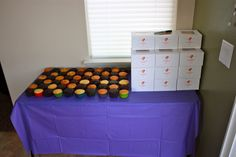 cupcake party...love the idea for the take away boxes for the kids after they decorate their cupcakes
