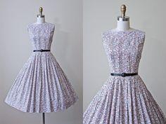 1950s Dress - Vintage 50s Dress - Brown Black White Atomic Print Cotton Full Skirt Sundress - Geometry Lessons Dress by jumblelaya on Etsy