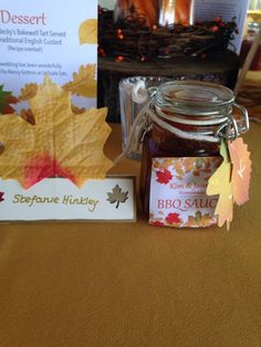 Autumn Wedding #leaves #favourlabels #menu #bbqsauce by Stef Hinkley