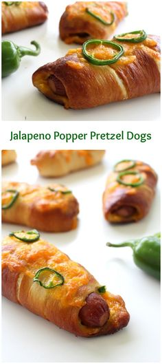 A hot dog wrapped in soft, chewy pretzel dough, stuffed with cheese and jalapenos. These Jalapeno Popper Pretzel Dogs are comfort food at its finest. These pretzel wrapped hot dogs stuffed with jalapenos, cream cheese and cheddar make me happy. Antipasto, Pretzel Dogs, Beste Burger, Appetizer Recipes, Appetizers, Good Food, Yummy Food, Healthy Food, Brunch