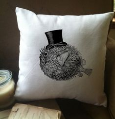 A pufferfish with a top hat? I had no choice but to put it on a pillow cover.  JUST THE FACTS, JACK.  THIS IS FOR THE PiILLOW COVER ONLY. Inserts