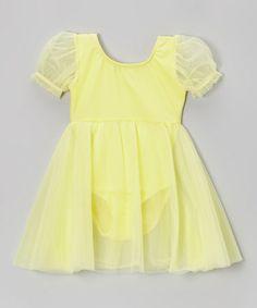 Another great find on #zulily! Yellow Puff-Sleeve Skirted Leotard - Girls #zulilyfinds