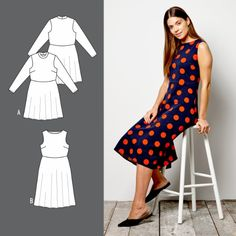 Dress with a full skirt Rock, Vintage Sewing Patterns, Couture, High Low, Skirts, Dresses, Projects, Fashion, Woman