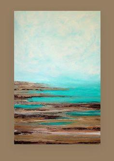 Il s'agit d'un original d'une peinture de genre par l'artiste acrylique Ora Birenbaum. Si vous êtes intéressé dans une peinture similaire d'une taille différente, s'il vous plaît me contacter. Belles nuances riches d'aqua et turquoise avec des touches de turquoise. Il y a plusieurs nuances de sable, taupe, gris, brun et crème witht ouches du métallisé étain et de cuivre pour dimension supplémentaire. Très texturé pour dimension et profondeur merveilleux. TITRE : lâcher prise DIMENSIONS…