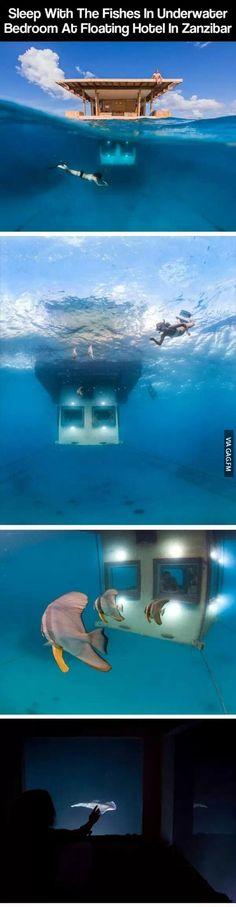 Sleep underwater with fishes in floating hotel in Zanzibar