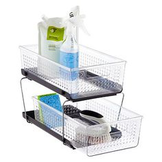 Keep your kitchen accessories all in one place with our 2-Tier Organizer. Each organizer slides in and out with ease, and each basket pulls out smoothly to provide visibility and quick access to stored items.