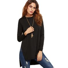 Woman Top Slit Side High Low T-shirt