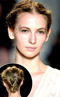 Middle part and twists on each side, updo -- Lela Rose