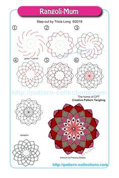 Rangoli-Mum by Tricia Long Doodle Zen, Zen Doodle Patterns, Tangle Doodle, Tangle Art, Zentangle Patterns, Mandala Art Lesson, Mandala Drawing, Zentangle Drawings, Doodles Zentangles