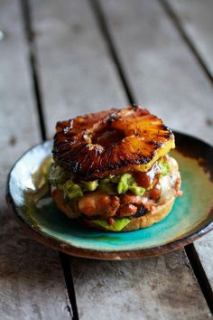 Hawaiian BBQ Salmon Burgers with Coconut Caramelized Pineapple / Half Baked Harvest