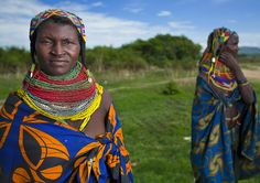Mwila Women With cotton print Togas, Chibia Area, Angola