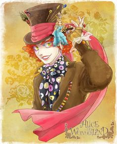 Usually I don't pin fanarts of the Mad Hatter unless they're really good at depicting Johnny Depp's version, but I couldn't pass this up. It looks somewhat like Johnny Depp, anyway! Mad Hatter Anime, Mad Hatter Drawing, Alice In Wonderland Drawings, Alice In Wonderland Doll, Johnny Depp Mad Hatter, Disney Movie Club, Queen Alice, Alice Liddell, Cartoon As Anime