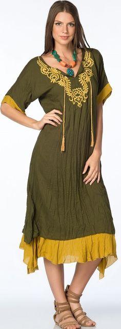 Yakası işlemeli şile bezi son moda otantik bayan kıyafet modeli