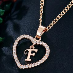 Best Seller Romantic Love Pendant Necklace For Girls 2019 Women Rhinestone Initial Letter Necklace Alphabet Gold Collars Trendy New Charms Alphabet Letters Design, Alphabet Images, Initial Letters, Letter Charm Necklace, Letter Charms, Heart Pendant Necklace, Calin Couple, Stylish Alphabets, Girls Necklaces