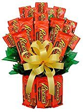 Reese's Candy Bouquet is perfect to send for every special day! Reese's are made into a vase and filled with more Reese's candy. Candy Bar Bouquet, Gift Bouquet, Food Bouquet, Money Bouquet, Flower Bouquets, Reese's Chocolate, Chocolate Bouquet, Chocolate Covered, Valentine Day Gifts