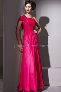 Graceful Red Chiffon One Shoulder Prom Dress With Ruffles pm81213
