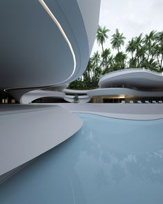 Roman Vlasov Renders A Luxurious, Multitiered Swimming Pool In A Garden Oasis, Conceptual Architecture, Parametric Architecture, Minimalist Architecture, Futuristic Architecture, Amazing Architecture, Architecture Design, Chinese Architecture, Architecture Office, Underground Swimming Pool