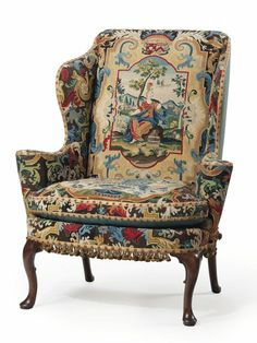 The George I Walnut and Beech Wing Armchair, circa covered in century gros point and petit point needlework, is one of Huguette Clark's many belongings headed to auction. Antique Chairs, Antique Furniture, Winged Armchair, Clark Art, Love Chair, Chair Makeover, Sofas, Armchairs, Settees