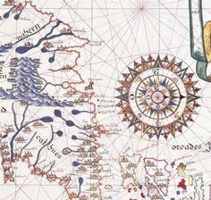 Atlas de Joan Martines (1587)-  Rosa de los vientos en el mapa de Irlanda (pág. 4), con el Este dirigido hacia abajo