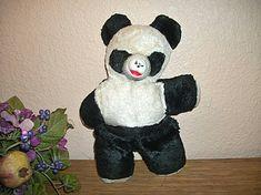 Panda Stuffed Animal Bear Vintage 1950's Black by TKSPRINGTHINGS