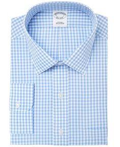 Brooks Brothers Men's Extra-Slim Fit Non-Iron Blue Gingham Dress Shirt - Blue 16.5 33